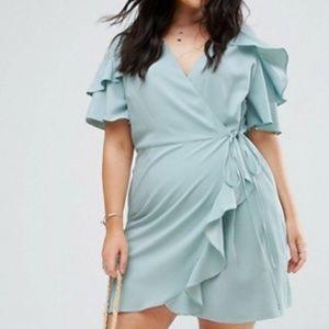 ASOS CURVE Mini Wrap Dress With Ruffle Sleeve 18